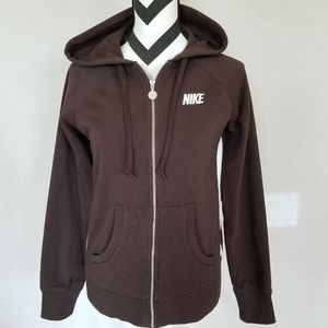 Nike Full Zip Hoodie Brown Sz Medium M Nike Logo